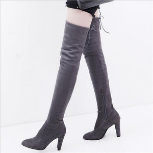 New Arrive Superstar Over Knee Boots Women Fashion Winter Boots Woman Shoes Autumn Zip Thick Heel Thigh High Boot Female 34-43