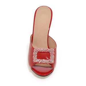 New Design Lady women shoes woman Fashion Rhinestone Spike Heels  Women Slides Big Size 32-43 6 Colors