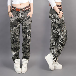 New Design Summer camouflage pants women fashion Casual Loose Cargo pants women Military