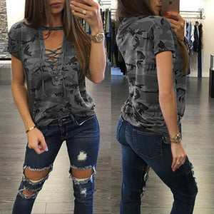 New Fashion Women Ladies Short Sleeve Camouflage Loose Blouse Summer Lace Up Casual Blouses Shirts Tops