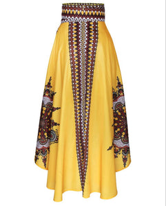 New Ladies Fashion African Totem Tattoo Print Yellow/Red Empire Waist Asymmetrical High Low Skirt Party Dashiki Skirt