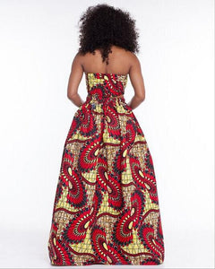New Ladies Fashion Vintage Style African Floral Print High Waist Side Open Flared Skirt Maxi Skirt