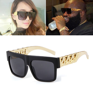 New Oversized Gold Chain Kim Kardashian Beyonce Sunglasses Men Women Steampunk Red Frame Sun Glasses Gafas De Sol UV400