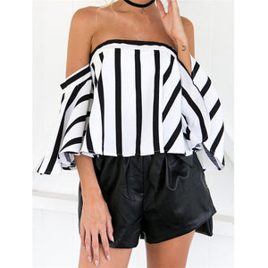 New Style Women Summer Short Sleeve Off Shoulder Stripe Blouse Casual Tops Blouse Sexy Fashion Hot Sales Wolovey#20