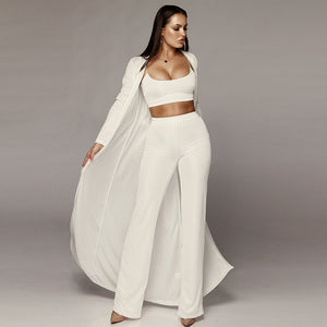 New Women Knitted 3 Piece Set Spaghetti Strap Crop Top High Waist Pant Long Sleeve Cardigan Overcoat Belt Knitwear Streetwear