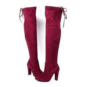 New Women boot fashion Suede Women Over The Knee Boots Lace Up Sexy High Heels Shoes Woman Slim Thigh High Boots Botas 35-43
