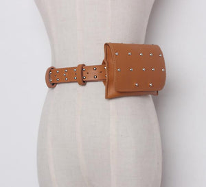 New brand design PU Leather Rivets Female Belts For Women With Bag Casual Black Women's Belt Fashion accessories