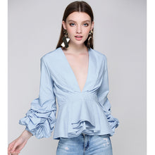 Newest Fashion 2017 Runway Designer Tops Blouse Women's Sexy Deep V Neck Lantern Sleeve Ruffle Blouse Shirt