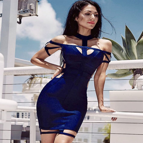 Newest Celebrity Party Bodycon Bandage Dress Women Short Sleeves Off The Shoulder Hollow Out Sexy Night Out Dress Women Vestidos