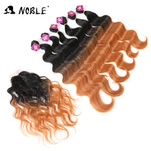 Noble 16-20 inch 7bundles/pack Black Blonde Synthetic Hair Weaving Deep Wavy Hair 6Bundles With Closure Lace For Black Women