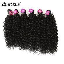 Noble Synthetic Kinky Curly Blonde Hair 16-20 inch 7Pieces/lot Afro Kinky Curly Hair 6Pieces With Closure Lace For Black Women