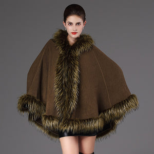 Novelty Vogue Long Women Fur Cape Shawl Coat with Cap Wool Cashmere Raccoon Fur Poncho Cloak Parka hooded Winter Collection