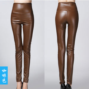 On sale 2018 women ladies winter warm Leather high waist stretch Pants female elastic stretch Slim pencil skinny fleece trousers