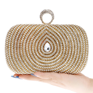 One Side Rhinestones Women Evening Bags Mult Color Finger Ring Diamonds Purse Day Clutches Evening Bags