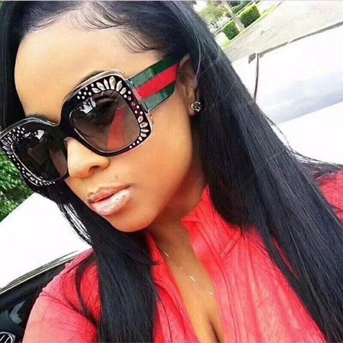 Oversized Rhinestone Sunglasses Women luxury brand shades big frame ladies 2018 new trendy sunglasses lunette de soleil femme