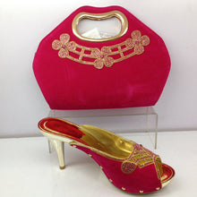 Pink Color Italian Shoes with Mathing Bag Set Decorated with Rhinestone Nigerian Wedding Shoes and Bag Italy Shoes and Bag Sets