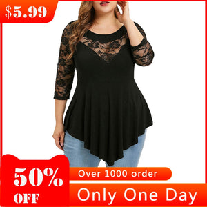 Plus Size Summer Fashion Lace Blouse Casual Ladies Sexy Solid Irregular Tee Tops Female Women's 3/4 Sleeve Shirt Blusas Pullover