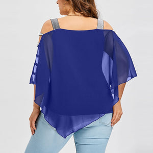 Plus Size Summer Fashion Women Chiffon Strapless Cold Shoulder Ladies Loose Shirt Tops Casual Long Sleeve Blouse Female Blusa