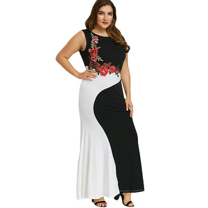 Plusee Dress Plus Size 4XL 5XL Women Chinese Style Bodycon Round Neck Pullover Color Block Embroidery Fashion Sexy Dress
