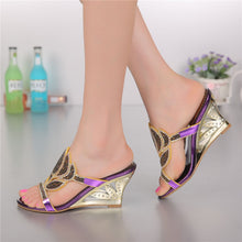 Purple Korean Sexy Diamond Fashion Casual Open Toe Slippers With Heel Womens Shoes Large Sizes High Heels Sandals Wedges 2018