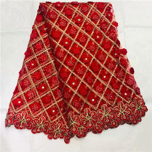 RED African Lace Fabric 2019 High Quality Lace Heavy African Guipure Cord Lace Fabric With lots of Stones For Nigerian Women