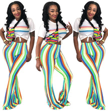 Rainbow Striped Printed Flare Pants Women Trousers 2018 Fashion Boho African Tribal Wear Stretch Slacks Ladies Bell Bottom Pants