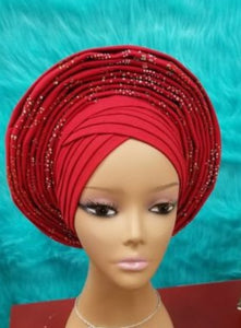 Ready to wear African gele auto headtie gele aso ebi headtie for african lace fabric