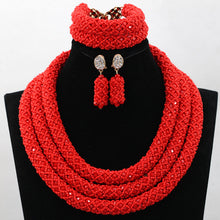 Red Handmade Crystal Beads Necklace Jewelry Sets Nigerian Wedding African Beads Costume Jewelry Sets 3 Rows Free Shipping