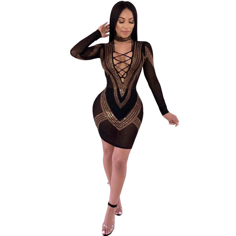 Rhinestones Sexy Bodycon Dress for Women Deep V-neck Long Sleeve Bandage Dress Elegant Mesh Sheer Party Black Sparkly Dresses
