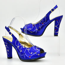 Royal Blue Italian Ladies Shoes and Bags To Match Set Decorated with Rhinestone Women Italian African Party Pumps Shoes and Bag