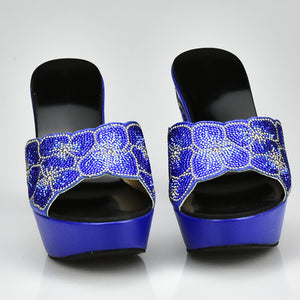 Royal Blue Matching Shoes and Bag Set In Heels Italian Ladies Shoes and Bag Set Decorated with Rhinestone Nigerian Shoes and Bag