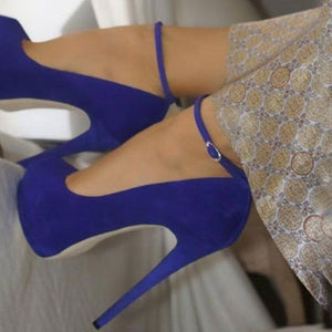 SHOFOO shoes.Elegant new free shipping, suede, ankle strap, 14.5 cm high heels, round toe pumps.SIZE:34-45