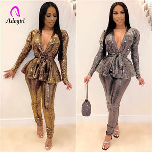 Sequin 2020 Spring Women 2 Piece Sets Hot Stamping Tracksuit Full Sleeve Sashes Tops + Skinny Pant Suit Night Club Party Outfits