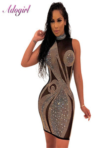 Sexy Evening Party Club Crystal Diamonds Sheer Mesh Bodycon Dress Women Sumdress Casual Halter Sleeveless Mini Summer Vestidos
