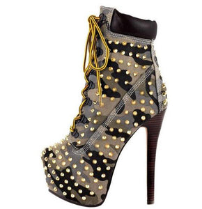 Sexy Rivet Spike Motorcycle Boot Woman Round Toe 160MM Platform Heel Ankle Bootie Lace-up Ridding Boot Winter Dress Shoes
