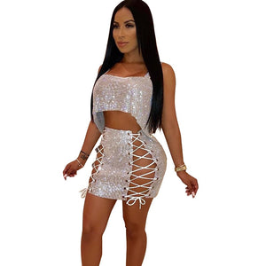 Sexy Sparkly Women's Sets Sequined Two Piece Skirt Set Strapless Crop Top and Bandage Mini Skirt Luxury Party Matching Outfits