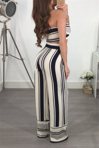 Sexy Striped Two Piece Set Women Summer Sleeveless Strapless Crop Tops and Wide Leg Pants Outfits 2 Piece Matching Sets Clubwear