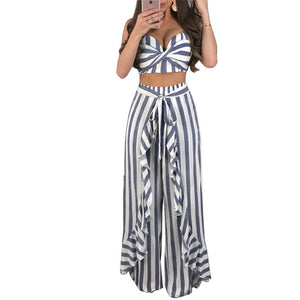 Sexy Summer Outfits for Women Striped Two Piece Set Draped Strapless Crop Top and Ruched Wide Leg Pants Matching Sets Clubwear