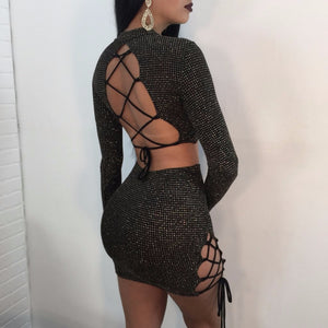 Sexy Women Two Piece Dresses Clothes Sets 2018 Black Hollow Out Bandage Crop Tops +Mini Skirts Sexy Ladies Club Party Outfits