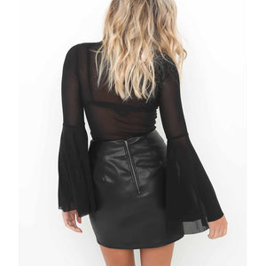 Sexy cross pencil skirt Women elegant hollow out short skirt Autumn PU leather casual split high waist bodycon black skirt