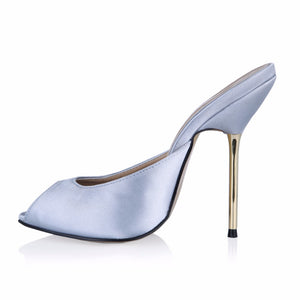 Sexy leather Fashion Mules Shoes Woman peep toe Slingback Silver Pumps gold high Heels Ladies Shoes
