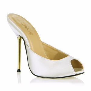 Sexy leather Fashion Mules Shoes Woman peep toe Slingback white Pumps gold high Heels Ladies Shoes