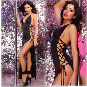 Sexy lingerie hot black dress erotic underwear  hanging neck side banded club steel dressneck seam split open thigh costumes