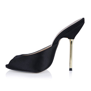 Sexy silk leather Fashion Mules Shoes Woman peep toe Slingback Silver Pumps gold high Heels Ladies Shoes