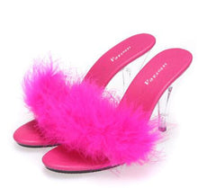 Shoes Woman Summer Sandals Feather Slides High - heeled Shoes 7-10cm Model Catwalk Transparent Glass Crystal Leopard Slippers