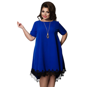 Short Sleeve Lace Dresses Big Size 5XL 6XL New 2017 Summer Backless Large Size Dress Plus Size Women Clothing Loose Blue Dress