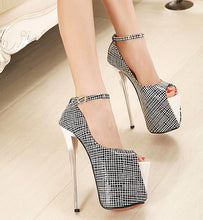 Spring Ultra High Heels 19cm Open Toe Women's Shoes Plaid Party Pumps Peep Toe Shoes Shallow Mouth Platform Female Pumps