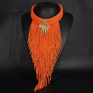 Statement Jewelry Hand-beaded Long Tassel Pendant Necklace Multilayer Color Resin Beads Choker Necklace for Women