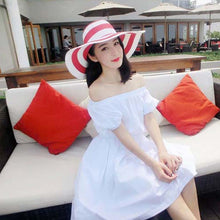 Striped Summer Sun Hats for Women Fashion Outdoor Large Beach Straw Hat 2015 Newest Casual Woman's Caps