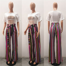 Striped Wide Leg Pants Women Summer New Fashion Bow Tie Straight Leg Pants Casual Loose Long Trousers High Waist Palazzo Pants